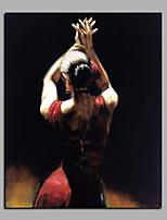 Недорогие -Ручная роспись Абстракция Люди Вертикальная, Modern холст Hang-роспись маслом Украшение дома 1 панель