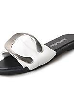 cheap -Women's Shoes Rubber Summer Comfort Slippers & Flip-Flops Flat Heel for Outdoor White Black