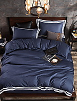 cheap -Duvet Cover Sets Solid Colored Poly / Cotton / 100% Cotton Yarn Dyed 4 Piece