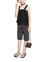 cheap -Girls' Daily Holiday Striped Clothing Set, Cotton Summer Fall Sleeveless Cute Black