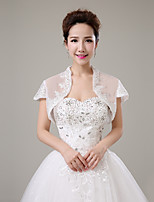 cheap -Short Sleeves Tulle Wedding Party / Evening Women's Wrap With Rhinestone Lace Shrugs