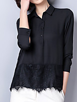 cheap -Women's Basic Cotton Shirt - Solid Colored, Lace Shirt Collar