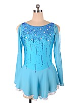 abordables -Robe de Patinage Artistique Femme Fille Patinage Robes Bleu Ciel strenchy Professionnel Tenue de Patinage Strass Paillette Manches Longues