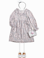 cheap -Girl's Daily Floral Dress, Polyester Spring Summer Long Sleeves Vintage Gray