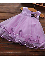 cheap -Girl's Daily Going out Solid Colored Dress, Polyester Summer Sleeveless Cute Purple