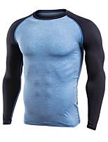 abordables -Homme Tee-shirt de Course Des sports Tee-shirt - Manches Longues Exercice & Fitness Séchage rapide, Respirabilité strenchy Gris, Bleu /