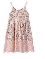 Недорогие -Девичий Платье Повседневные Полиэстер Однотонный Весна Осень Без рукавов Простой Розовый Серый