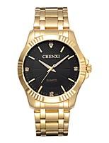 baratos -CHENXI® Homens Quartzo Simulado Diamante Relógio Relógio Elegante Relógio de Moda Japanês imitação de diamante Relógio Casual Aço