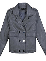 cheap -Women's Leather Jacket - Solid Colored, Print Shirt Collar