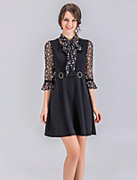 cheap -Women's Street chic Flare Sleeve A Line Dress Basic Shirt Collar