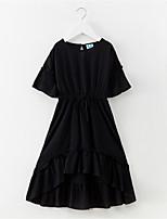 preiswerte -Mädchen Kleid Alltag Festtage Solide Baumwolle Polyester Frühling Sommer Kurzarm Einfach Aktiv Schwarz Rote