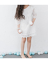 Недорогие -Девичий Платье Повседневные Хлопок Однотонный Лето Длинный рукав Простой Активный Белый