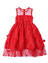 cheap -Girl's Daily Solid Colored Dress, Cotton Polyester Summer Sleeveless Cute Red Yellow