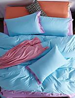 cheap -Duvet Cover Sets Solid 4 Piece Poly/Cotton Yarn Dyed Poly/Cotton 1pc Duvet Cover 2pcs Shams 1pc Flat Sheet
