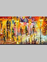 abordables -Pintada a mano Abstracto Paisaje Horizontal, Modern Lona Pintura al óleo pintada a colgar Decoración hogareña Un Panel