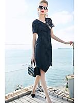 cheap -ZIYI Women's Work Slim Sheath Dress - Striped Lace V Neck