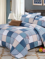 cheap -Duvet Cover Sets Grid/Plaid Patterns 4 Piece Poly/Cotton Reactive Print Poly/Cotton 1pc Duvet Cover 2pcs Shams 1pc Flat Sheet