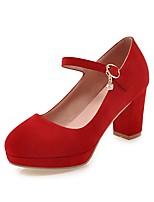 preiswerte -Damen Schuhe Nubukleder Frühling Herbst Pumps High Heels Blockabsatz Runde Zehe für Büro & Karriere Party & Festivität Schwarz Rot Grün