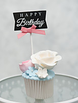cheap -Cake Topper Birthday Friends Heart Handmade Party Birthday with Bowknot 1 OPP
