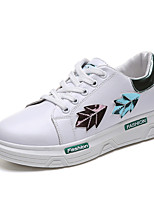 cheap -Women's Shoes PU Spring Fall Comfort Sneakers Flat Heel for Outdoor White Green