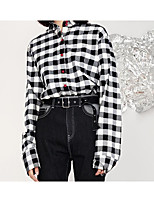 preiswerte -Damen Hahnentrittmuster Hemd, Hemdkragen