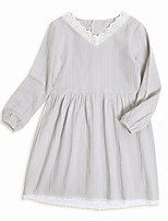 cheap -Girl's Daily Solid Dress, Polyester Summer Long Sleeves Vintage Gray
