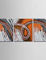 cheap -Oil Painting Hand Painted - Abstract Modern Canvas Three Panels