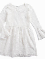 cheap -Girl's Daily Solid Dress, Cotton Spring Summer Long Sleeves Simple White