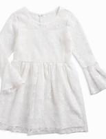 preiswerte -Mädchen Kleid Alltag Solide Baumwolle Frühling Sommer Langarm Einfach Weiß