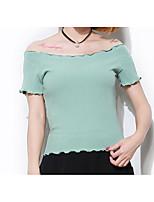 abordables -Tee-shirt Femme, Couleur Pleine - Coton Style moderne Epaules Dénudées