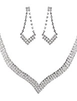 cheap -Women's Cubic Zirconia Rhinestone Imitation Diamond Jewelry Set 1 Necklace Earrings - Classic Vintage Elegant Geometric Drop Jewelry Set