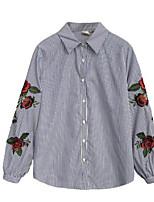 Недорогие -Жен. Рубашка Рубашечный воротник Простой Цветы