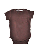 cheap -Baby Unisex Daily Holiday Solid One-Pieces, Cotton Spring Fall Simple Half Sleeves Brown