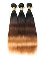 abordables -Cheveux Brésiliens Droit A Ombre 3 offres groupées 10-26pouce Tissages de cheveux humains Noir / Moyen Marron / Blond Fraise / Droite