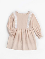 cheap -Girl's Daily Solid Dress, Cotton Spring Summer Long Sleeves Simple Beige