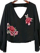 cheap -Women's Flare Sleeve Blouse - Floral, Print V Neck