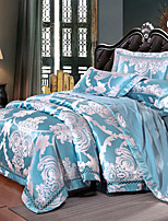 cheap -Duvet Cover Sets Floral Luxury Silk / Cotton Blend Jacquard 4 Piece