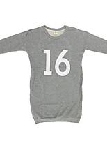 abordables -Robe Fille de Quotidien Couleur Pleine Imprimé Coton Printemps Eté Manches Longues Mignon Décontracté Gris