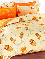cheap -Duvet Cover Sets Cartoon 4 Piece Poly/Cotton 100% Cotton Printed Poly/Cotton 100% Cotton 1pc Duvet Cover 2pcs Shams 1pc Flat Sheet