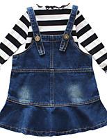 baratos -Menina de Vestido Diário Feriado Sólido Listrado Primavera Verão Algodão Poliéster Elastano Manga Longa Simples Activo Azul Arco-íris