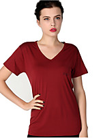 cheap -Women's Slim T-shirt - Solid Colored V Neck