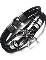 preiswerte -Herrn Leder Blattform Armband - Retro Blattform Schwarz Braun Armbänder Für Alltag