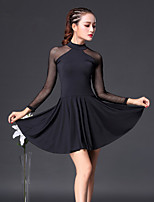 cheap -Latin Dance Dresses Women's Training Cotton Split Joint 3/4 Length Sleeves High Dress