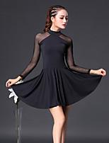abordables -Danse latine Robes Femme Entraînement Coton Combinaison Manches 3/4 Taille haute Robe