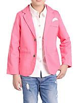abordables -Costume & Blazer Garçon Quotidien Couleur Pleine Imprimé Coton Polyester Printemps Automne Manches Longues simple Décontracté Bleu Rose
