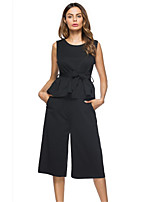 cheap -Women's Simple Casual Set - Solid Color, Bow Pant