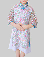 cheap -Girl's Daily Going out Floral Patchwork Dress, Rayon Polyester Spring Fall 3/4 Length Sleeves Chinoiserie White
