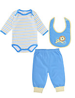 cheap -Baby Unisex Daily Striped Clothing Set, Cotton Spring Fall Active Long Sleeves Light Blue