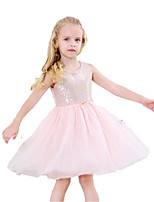 cheap -Girl's Daily Holiday Solid Colored Dress, Cotton Polyester Spring Summer Sleeveless Cute Basic Blushing Pink Gray