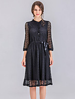 cheap -SHE IN SUN Women's Street chic A Line Swing Dress - Solid Colored Floral Lace Basic Stand